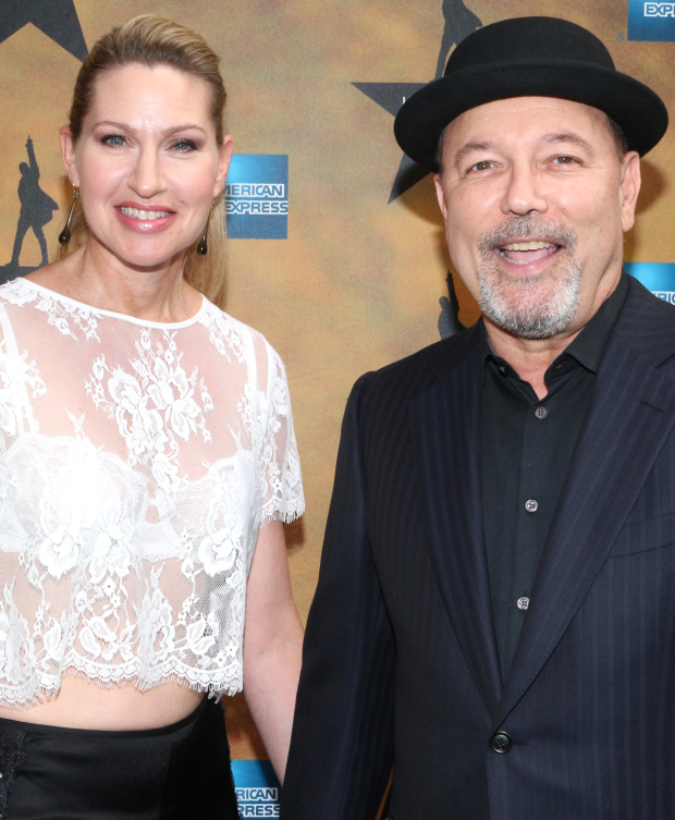 <p>Performing couple Luba Mason and Rubén Blades share a photo before the show.</p><br />(© David Gordon)