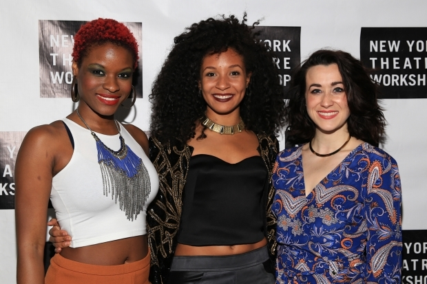 <p>Lulu Fall, Nabiyah Be, and Jessie Shelton celebrate their opening night.</p><br />(© Tricia Baron)