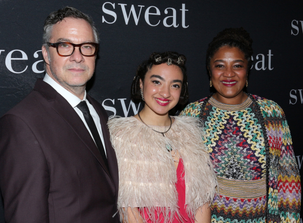 <p>Lynn Nottage takes in the show with her proud husband, Tony Gerber, and their daughter.</p><br />(© David Gordon)