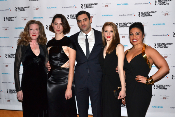 <p><em>Machinal</em> leads Rebecca Hall and Morgan Spector are flanked by their costars, Henny Russell (left), Ashley Bell, and Maria-Christina Oliveras (right).</p><br />(© David Gordon)