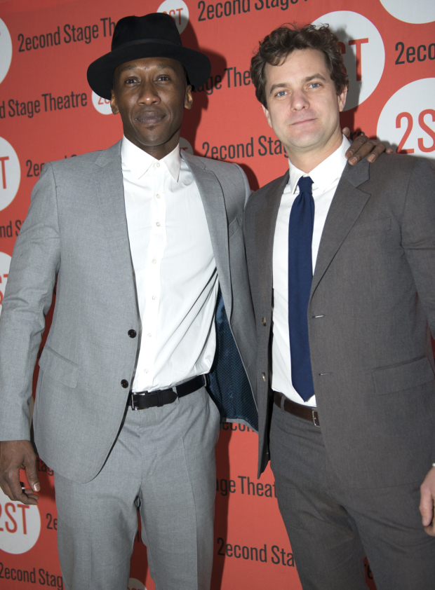 <p>Mahershala Ali and Joshua Jackson pose for photos at the opening-night party.</p><br />(© Allison Stock)