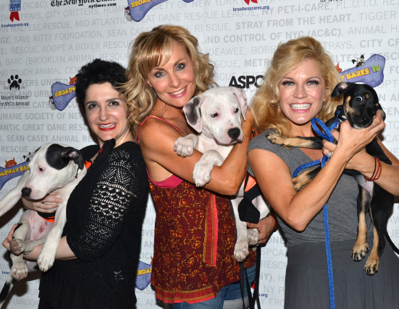<p><em>Mamma Mia!</em> stars Lauren Cohn, Judy McLane, and Felicia Finley are unafraid to snuggle with the puppies.</p><br />(© David Gordon)