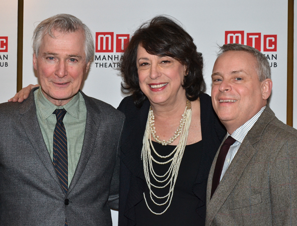 <p>Manhattan Theatre Club Artistic Director Lynne Meadow (center) takes in the evening with <em>Outside Mullingar</em> playwright John Patrick Shanley (left) and director Doug Hughes (right).</p><br />(© David Gordon)