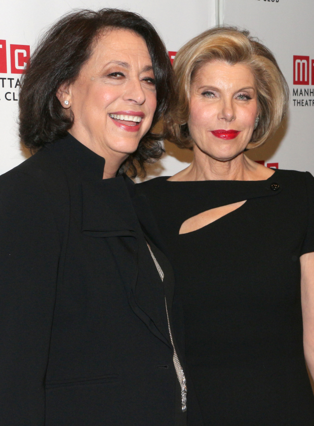 <p>Manhattan Theatre Club artistic director Lynne Meadow takes a snapshot with the evening&#39&#x3B;s honoree, Christine Baranski.</p><br />(© David Gordon)
