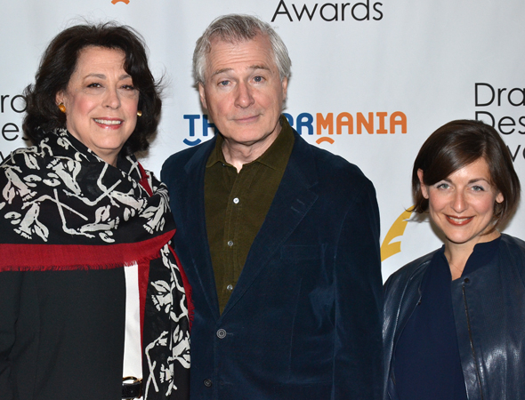 <p>Manhattan Theatre Club artistic leaders Lynne Meadow (left) and Mandy Greenfield (right) with their nominated <em>Outside Mullingar</em> playwright, John Patrick Shanley.</p><br />(© David Gordon)