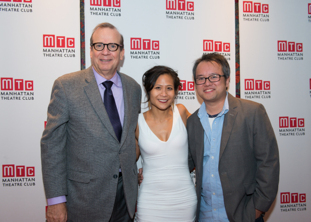 <p>Manhattan Theatre Club executive producer Barry Grove joins Adrales and Nguyen for a photo.</p><br />(© Allison Stock)