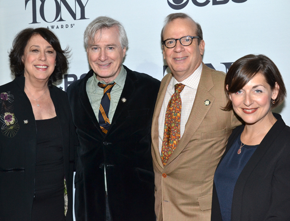 <p>Manhattan Theatre Club head honchos Lynne Meadow, Barry Grove, and Mandy Greenfield flank their <em>Outside Mullingar</em> playwright, John Patrick Shanley (second from left).</p><br />(© David Gordon)