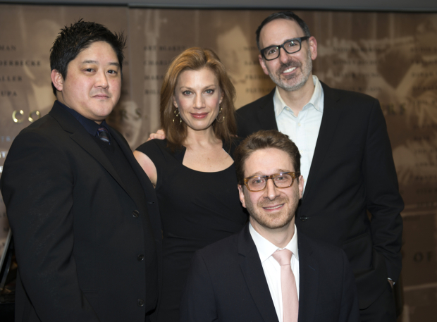 <p>Marco Paguia, Jessica Phillips, and Erik Lochtefeld celebrate the writing of Daniel Goldstein (seated).</p><br />(© Allison Stock)