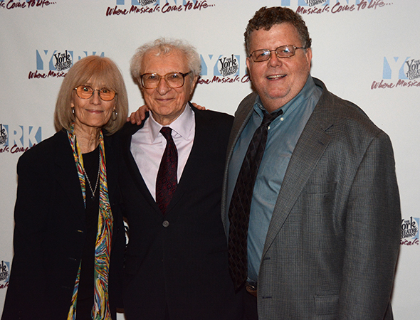 <p>Margery Harnick and Sheldon Harnick smile alongside York Artistic Director James Morgan.</p><br />(© Nessie Nankivell)