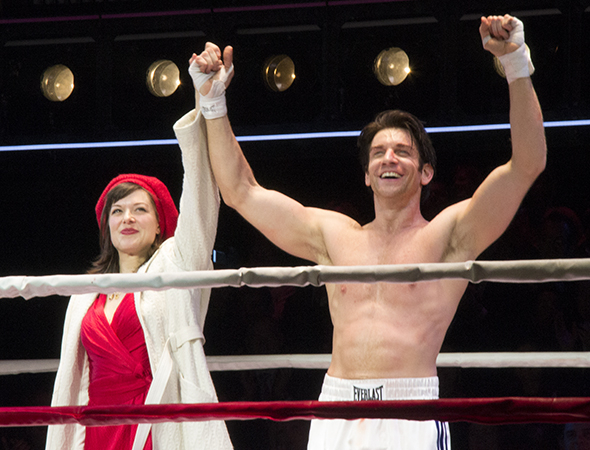 <p>Margo Seibert and Andy Karl take their bows as Adrian and Rocky.</p><br />(© David Gordon)