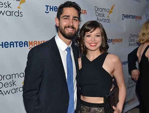 <p>Margo Seibert, Outstanding Lead Actress in a Musical nominee for <em>Tamar of the River</em>, with her significant other, Jahn Sood.</p><br />(© David Gordon)