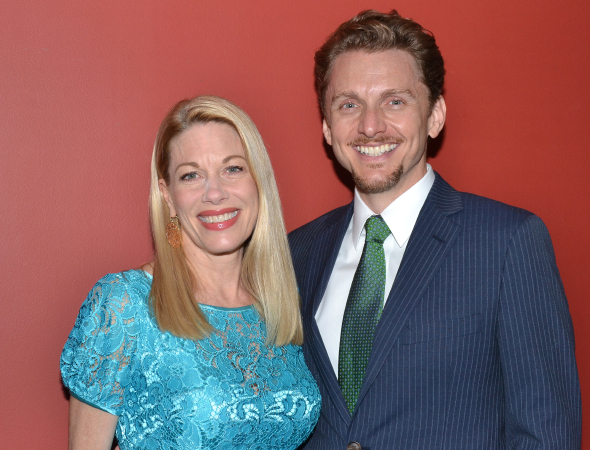 <p>Marin Mazzie, recipient of the Outstanding Featured Actress in a Musical honor for <em>Bullets Over Broadway</em>, poses with her husband, Jason Danieley.</p><br />(© David Gordon)