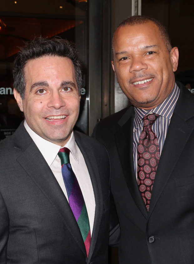 <p>Mario Cantone and Jerry Dixon arrive for the opening of <em>The Cherry Orchard</em>.</p><br />(© David Gordon)