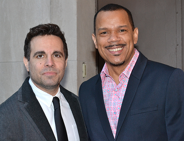 <p>Mario Cantone and Jerry Dixon smile for the cameras.</p><br />(© David Gordon)
