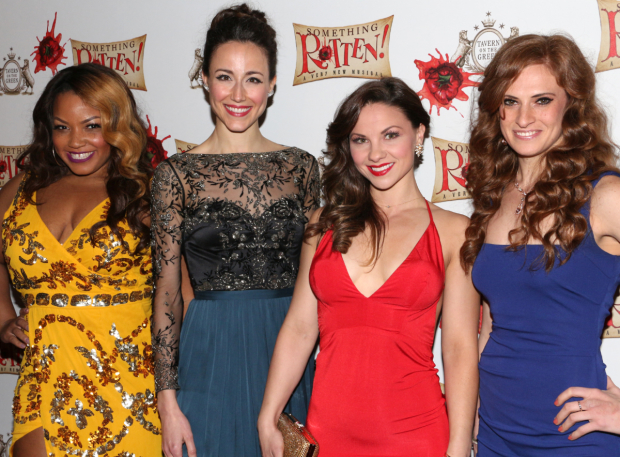 <p>Marisha Wallace, Beth Johnson Nicely, Chelsea Morgan Stock, and Courtney Iventosh are more of the ensemble&#39&#x3B;s women.</p><br />(© David Gordon)