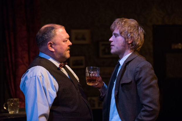 <p>Mark Addy and Johnny Flynn have a talk.</p><br />(© Ahron R. Foster)