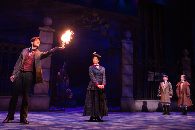 <p>Mark Evans, Elena Shaddow, John Michael Pitera, and Abbie Grace Levi in a magical scene from <em>Mary Poppins</em></p><br />(© Matthew Murphy)