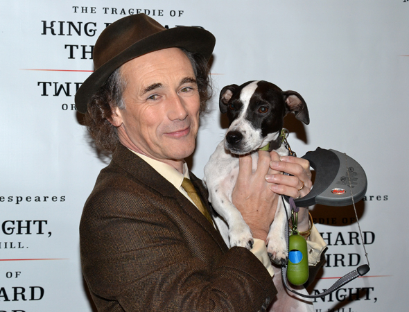 <p>Mark Rylance arrives at the after-party with his canine pal, Apache, who made his stage debut in <em>Twelfth Night</em> on November 10.</p><br />(© David Gordon)