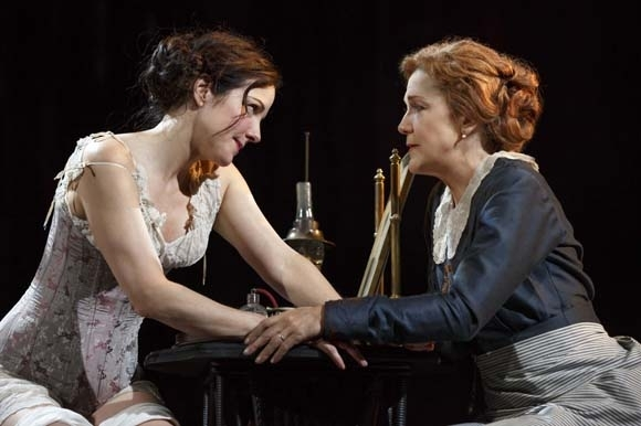 <p>Mary-Louise Parker and Victoria Clark share an intimate moment.</p><br />(© Joan Marcus)