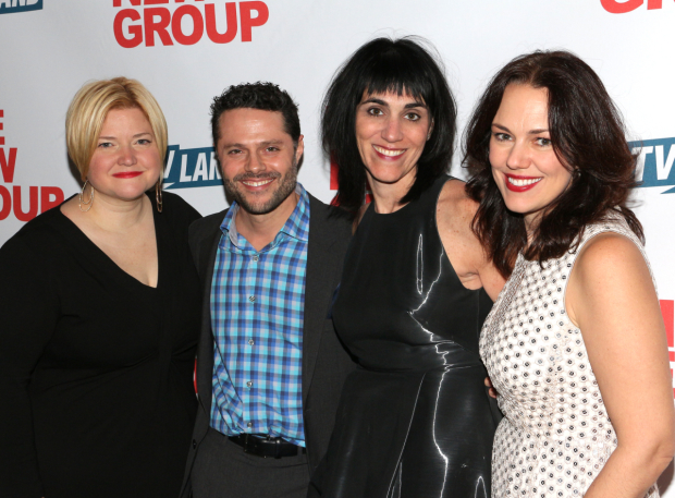 <p>Mary-Mitchell Campbell, Joshua Bergasse, Leigh Silverman, and Georgia Stitt smile for the cameras.</p><br />(© David Gordon)
