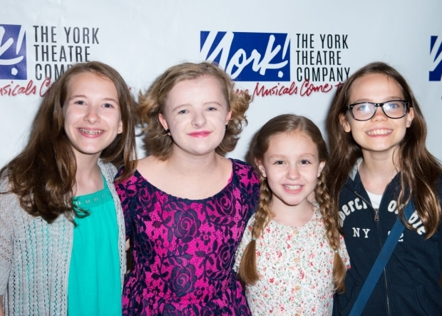 <p>Milly Shapiro (second from left) is joined by <em>Matilda</em> vets Sophia Gennusa, Mimi Ryder, and Oona Laurence at the festivities.</p><br />(© Allison Stock)