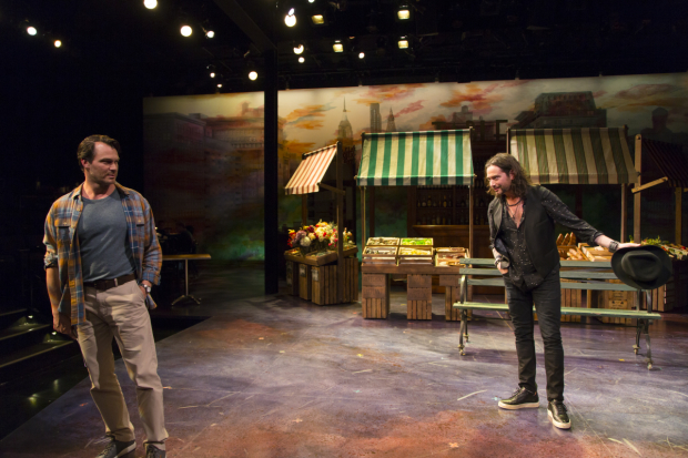 <p>Matt Bogart and Constantine Maroulis in a scene from <em>the Most Beautiful Room in New York</em>.</p><br />(© T. Charles Erickson)