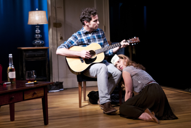 <p>Matt Dellapina and Miriam Silverman share a tender moment onstage.</p><br />(© Jenny Anderson)