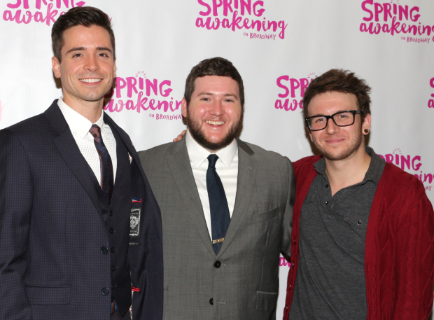 <p>Matt Doyle (a replacement Hanschen), Brian Charles Johnson (Otto), and Gerard Canonico (ensemble) appeared in the original production of <em>Spring Awakening</em>.</p><br />(© David Gordon)