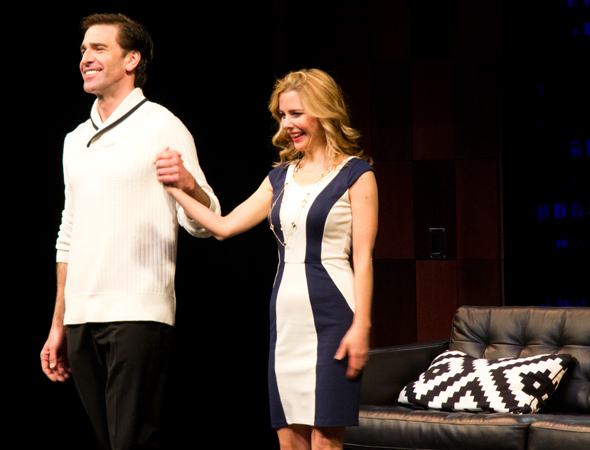 <p>Matt Walton and Kerry Butler take their opening-night curtain call.</p><br />(© David Gordon)