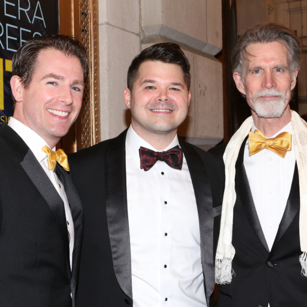 <p>Matthew Deming, Chris Newcomer, and Tom Nelis play the servants of Chita Rivera&#39&#x3B;s Claire Zachanassian.</p><br />(© David Gordon)