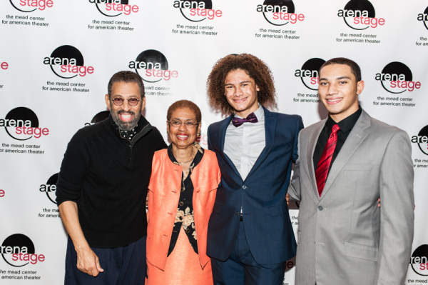 <p>Maurice Hines and the Manzari brothers pose for a photo with the congresswoman.</p><br />(© Cameron Whitman Photography)