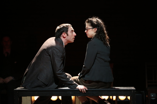 <p>Max Gordon Moore as Sholem Asch and Adina Verson as Madje Asch in <em>Indecent</em>.</p><br />(© Carol Rosegg)