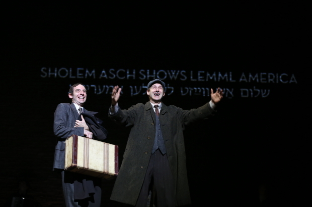 <p>Max Gordon Moore as Sholem Asch and Richard Topol as Lemml in <em>Indecent</em>.</p><br />(© Carol Rosegg)