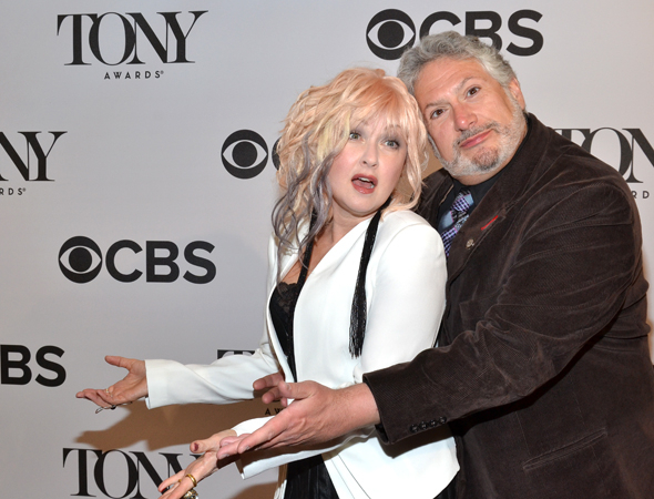 <p>May 1: <em>Kinky Boots</em> writers Cyndi Lauper and Harvey Fierstein can't believe they just got Tony nominations! Lauper and the show would go on to win Best Score and Best Musical honors, respectively.</p><br />(© David Gordon)