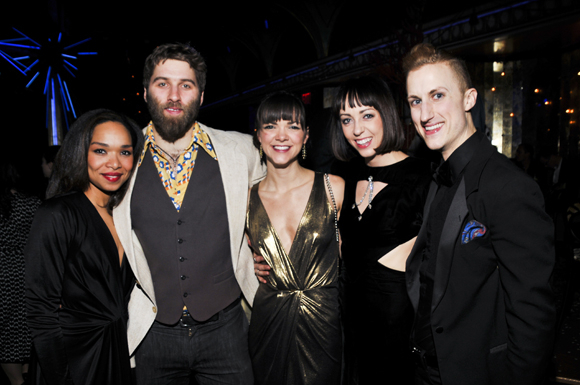<p>Mayte Natalio, Mason Ames, Katherine Roarty, Emily Palmquist, and Clinton Edward gather at <em>Queen of the Night</em>.</p><br />(© Jenny Anderson)