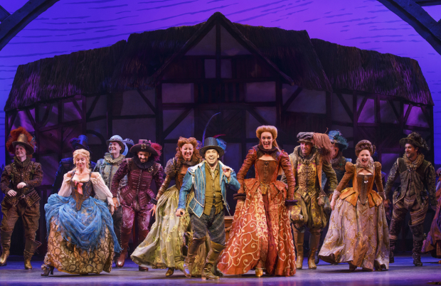 <p>McClure (center) with the cast of <em>Something Rotten!</em></p><br />(© Joan Marcus)