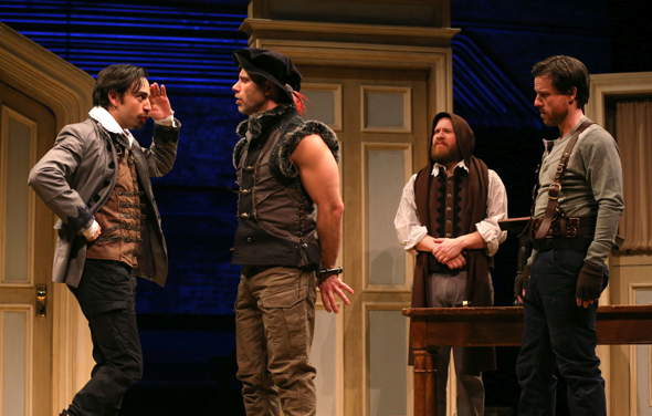 <p><em>Measure for Measure</em> stars Ben Steinfeld as Lucio, Noah Brody as Pompey, Andy Grotelueschen as the disguised Duke Vincentio, and Paul L. Coffey as Elbow.</p><br />(© Joan Marcus)