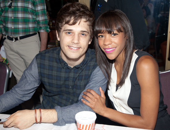 <p>Meeting the fans isn&#39&#x3B;t too <em>misérables</em> for Andy Mientus and Nikki M. James.</p><br />(© Seth Walters)