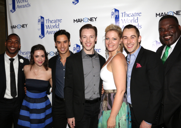 <p>Megan Fairchild (second from left) takes a celebratory photo with her <em>On the Town</em> castmates.</p><br />(© David Gordon)