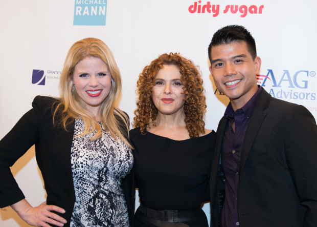 <p>Megan Hilty, Bernadette Peters, and Telly Leung take part in the <em>Broadway Sniffs Out Cancer</em> benefit.</p><br />(© Allison Stock)