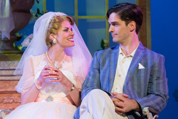 <p>Megan Nicole Arnoldy as Tracy Lord and Paul Schaefer as Dexter Haven in Walnut Street Theatre's production of <em>High Society</em>.</p><br />(© Mark Garvin)