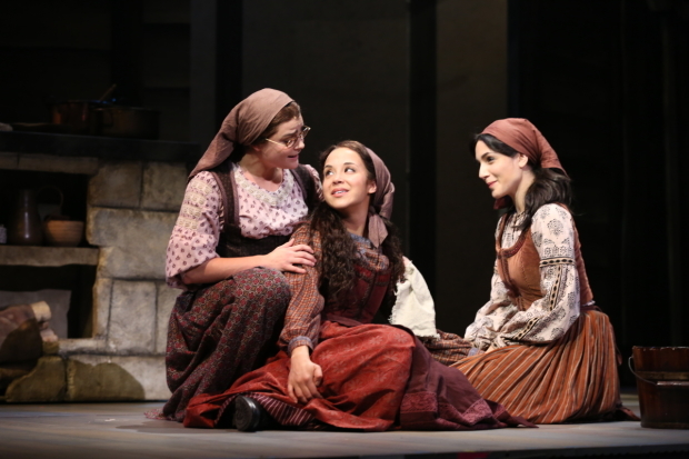 <p>Melanie Moore, Alexandra Silber, and Samantha Massell take on the roles of Chava, Tzeitel, and Hodel.</p><br />(© Joan Marcus)