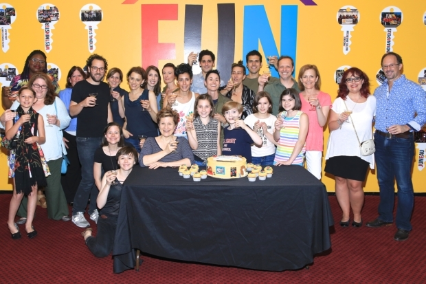 <p>Members of PFLAG join the <em>Fun Home</em> team for a photo.</p><br />(© Tricia Baron)