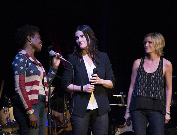 <p>Menzel (center) shares a moment with LaChanze (left) and Jenn Colella (right).</p><br />(© David Gordon)