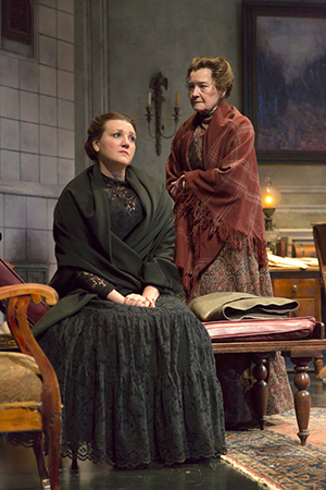 <p>Meredith Holzman and Nancy E. Carroll share a scene as Masha and Paulina.</p><br />(© T Charles Erickson)