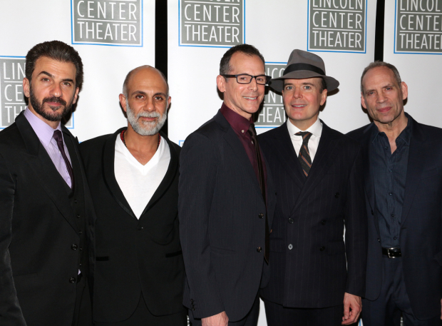 <p>Michael Aronov, Anthony Azizi, T. Ryder Smith, Jefferson Mays, and Daniel Oreskes celebrate their opening night.</p><br />(© David Gordon)