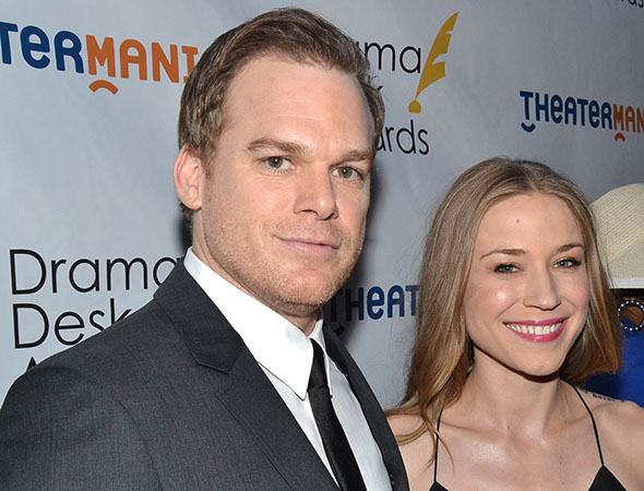 <p>Michael C. Hall, a special award winner for <em>The Realistic Joneses</em>, with his girlfriend, Morgan.</p><br />(© David Gordon)