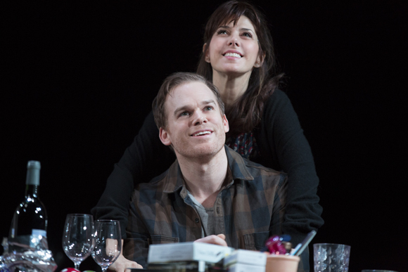 <p>Michael C. Hall (John Jones) and Marisa Tomei (Pony Jones) enjoy a moment as a couple.</p><br />(© Joan Marcus)