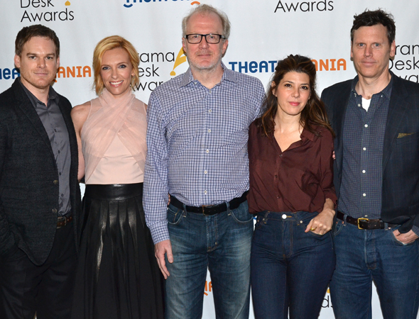 <p>Michael C. Hall, Toni Collette, Tracy Letts, Marisa Tomei, and Will Eno — Special Award winners for Broadway&#39&#x3B;s <em>The Realistic Joneses</em>.</p><br />(© David Gordon)