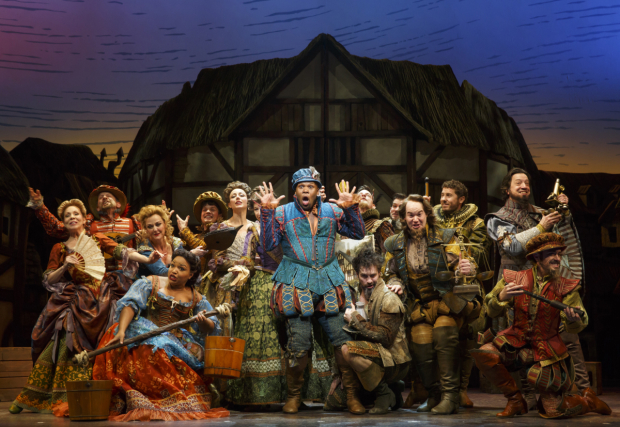 <p>Michael James Scott and the cast of <em>Something Rotten!</em>, opening tonight at the St. James Theatre.</p><br />(© Joan Marcus)